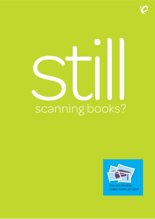 A poster that ask the viewer if they are STILL scanning books?